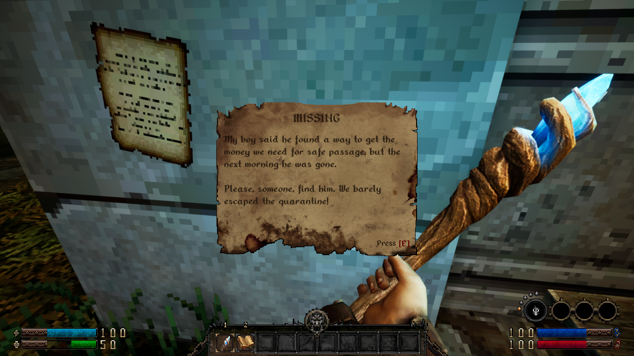 Screenshot from GRAVEN of a note about a missing son