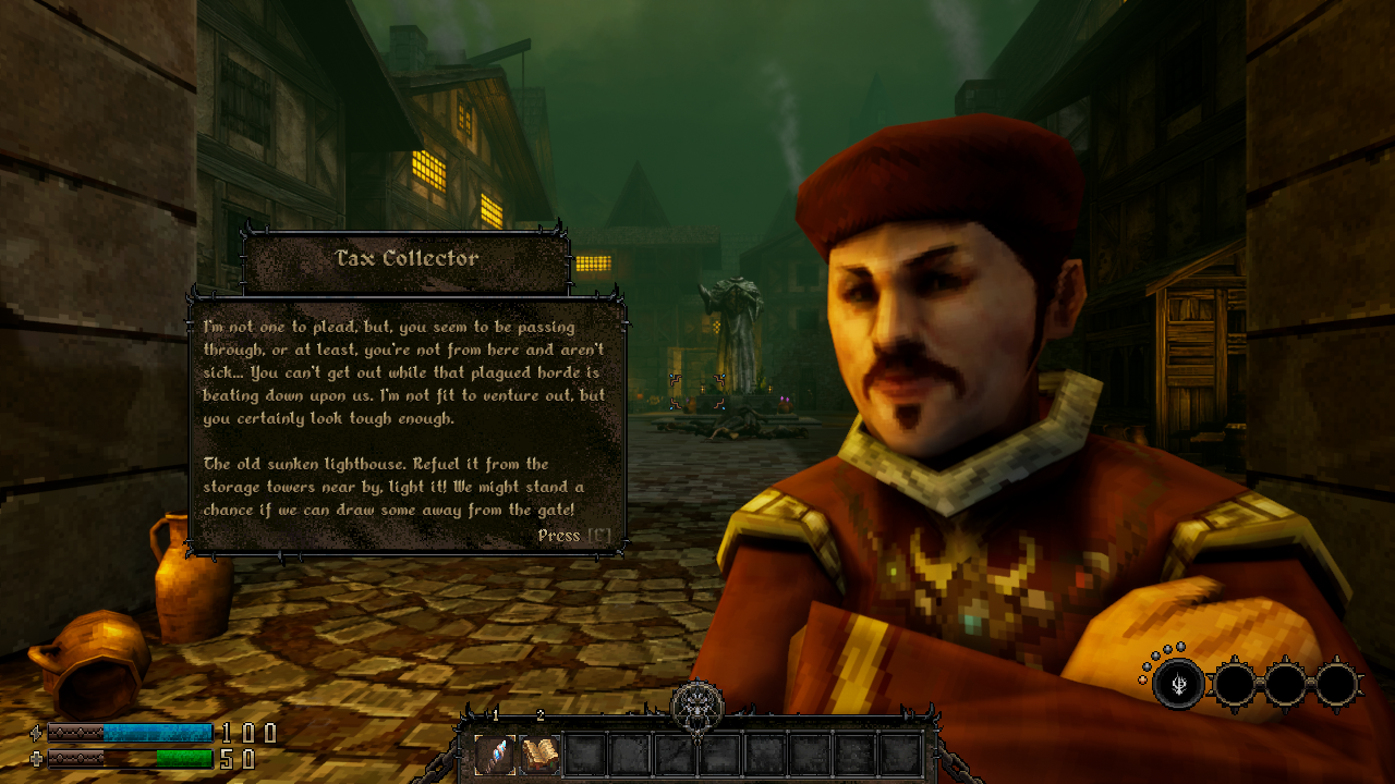 Screenshot from GRAVEN showing the Tax Collector giving The Priest a quest