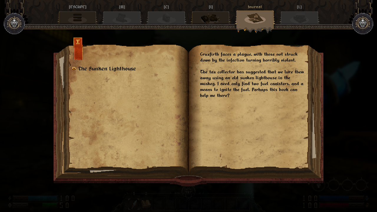 Screenshot from GRAVEN showing The Priest's journal